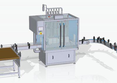 Automatische flowmeter afvullijn voor vloeibare planten voeding.